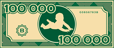 fake $100,000 bill with baby in center