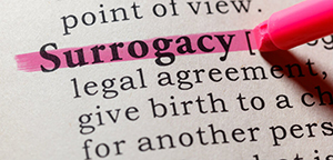 Surrogacy highlighted in dictionary