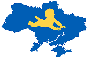 silhouette of baby over map of Ukraine